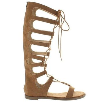 CREYONIG Chinese Laundry Galactic - Coco Brown Micro Suede Tall Gladiator Sandal