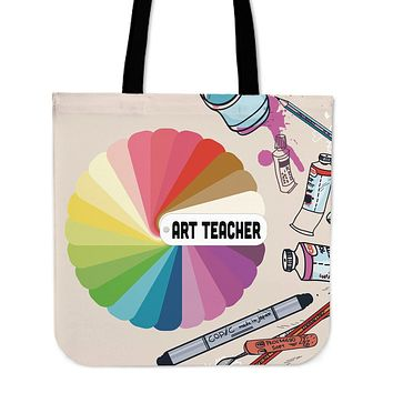 Colorful Art Teacher Linen Tote Bag