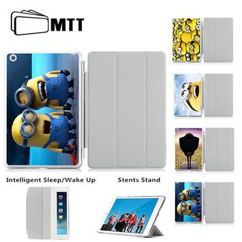 MTT Lovely Two Minions Smart Case For Apple iPad air 1 2 ipad 5 ipad 6 Leather Stand Cases capa fundas For iPad air 2 case Cover