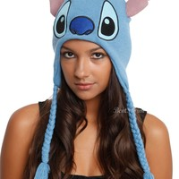 Licensed cool Disney Lilo & Stitch Plush Laplander Knit Beanie Hat Embroidered Face With Ears