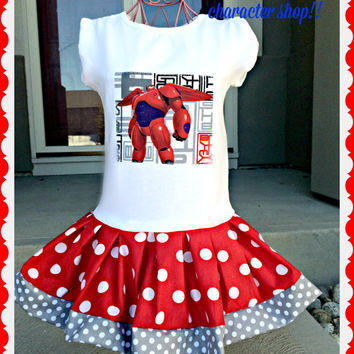 girls Baymax dress Big Hero Six 6 12 month 18 month 2T 3T 4T 5T 4/5 6/6x 7/8 10/12 and 14/16 Ready to Ship