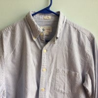 jcrew vintage oxford nautical button down shirt / blue and striped preppy shirt menswear