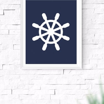 Navy Blue Nautical Wheel, Sea Wall Art, Nautical Wall Art, Beach House Decor, Nursery Wall Art, Gallery Prints, 8x10, 24x30 Inches