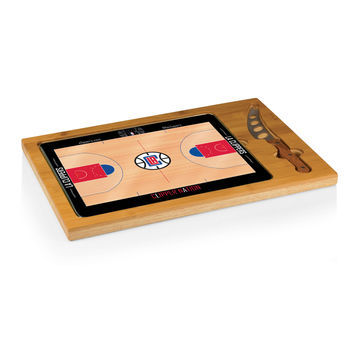 Los Angeles Clippers - 'Icon' Glass Top Serving Tray & Knife Set by Picnic Time (Basketball Design)