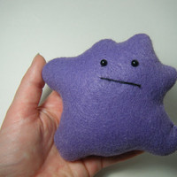 Pokemon inspired Ditto hand-sewn plush toy