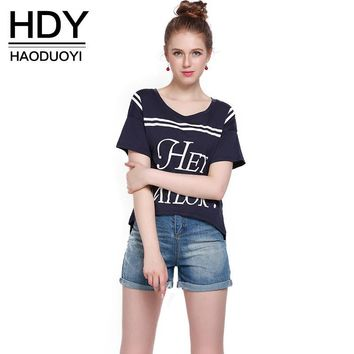 Fashion T-shirt Summer O-neck Deep Blue Letter Print Tops Casual Cotton Short Sleeve Female T-shirt