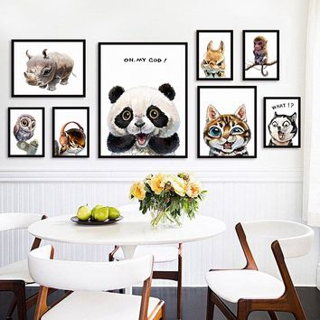 Series One Kawaii Expression Funny Cute Animal Tiger Panda Rabbit A4 Canvas Art Painting Print Poster Wall Children's Bedroom Ho