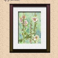 Gentle Mallow - an original floral artwork in watercolor and ink - LinanDara's Art-n-Folk