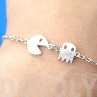 Namco PacMan & Ghost Arcade Game Themed Charm Bracelet in Silver | redditgifts