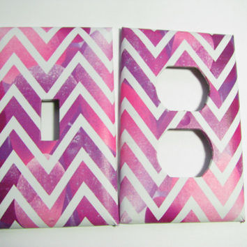 Light Switch Cover Set - Light Switch Plate Chevron & Sea Glass
