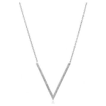 Solid 925 Sterling Silver Zirconia V Bar Necklace