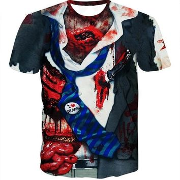 Zombie Horror All Over Print  T-Shirts - Men's Crew Neck Novelty Top Tee