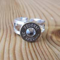 38 Special Bullet Ring Ultra Stong with Swarovski Crystal Accents - Small Thin Cut - Girls with Guns