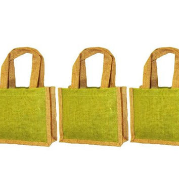 "Pack of 3 - Small gift bag with handles Jute burlap sbag with jute handles Green with natural size 10""W x 9""H x 3"" bags in bulk Eco-friendly Reusable Bag - CarryGreen Bags"