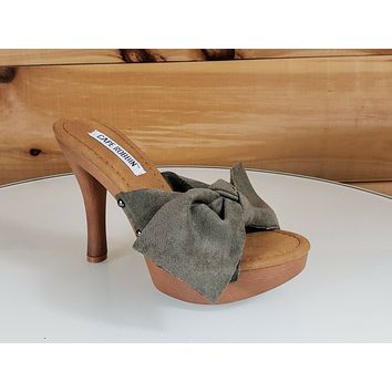 "CR Slide Olive Green Bow Tie Faux Wood Slip On Mule Clog 4.5"" High Heel 5-10"