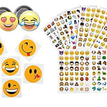 144 Emoji Temporary Tattoos, 12 Emoji Sticker Sets for 12 Party Guests, Each Set has 288 Stickers, (6 Sheets) and 3 Partymoji Pins, for Birthday Parties, Total 3,456 Stickers, 144 Tattoos and 3 Pins!