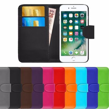 LEATHER WALLET BOOK FLIP SIDE OPENING CASE COVER FOR APPLE iPHONE 7 & 8 PHONES