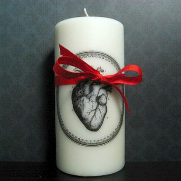 Candle - Heart Candle - Victorian Inspired - Anatomical Heart