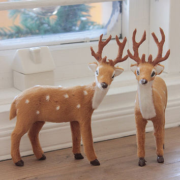 15cm little wood sika deer/carved crafts/fairy garden/terrarium/ vintage home decor/Christmas birthday gift/delicate miniatures