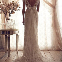 2014 New Design Handmade Beaded Lace Long Wedding Dresses,Long Wedding Gowns,Cap Sleeve Long Bridal Gowns Custom Made Wedding Dresses