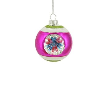 """Fuchsia Green and Silver Glittered Witches Eye Glass Ball Ornament 2.75"""" (70mm)"""