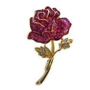 24k Gold-Plated Swarovski Crystal Enamel Red Rose Pin/ Brooch (1/2 inch x 2 inches) (Gift Boxed)