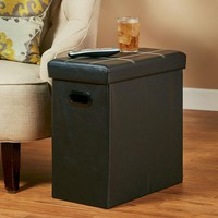 Collapsible Storage Table Side End Nightstand Faux Leather Upholstered Black or Brown