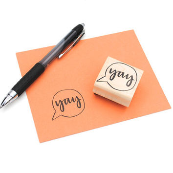 Yay Rubber Stamp Handwritten Calligraphy Speech by EmDashPaperCo