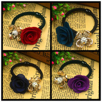 2015 New Gold Plated Fabric Crystal Rose Flower Hair Holders Rubber Bands Black Elastics Accessories Tie Gum 4 Colours Choose