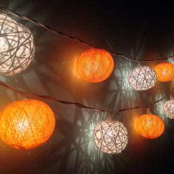 Cotton ball lights for home decor,party decor,wedding patio,20 pieces indoor rope&ball string lights bedroom fairy lights,blue,white
