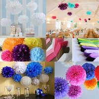 "5pcs/lot 20cm(8"") Wedding Paper Peony Flower Tissue Paper Pom Poms Wedding Party Garden Home House Decoration ZH ZH-20cm [7981621319]"