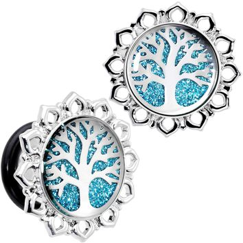 "1/2"" Blue Glitter Inlay Tree of Life Single Flare Plug Set"