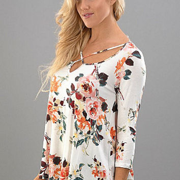 Fashion Florals Top - Ivory