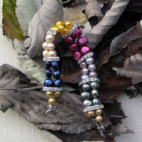 "WINTER SALE Multi Coloured Freshwater Pearl Bracelet - ""Party Glitz"""