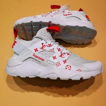 Nike Air Huarache Supreme Lv White/Red Fashion Women/Men Casual Running Sport Shoes G