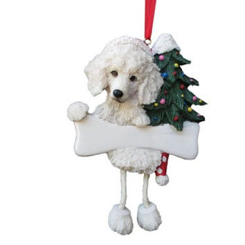 "Poodle Ornament White with Unique ""Dangling Legs"" Hand Painted and Easily Personalized Christmas Ornament"