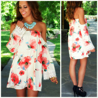 Blushing Gardens White Floral Open Shoulder Dress