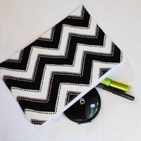 Black and white cheveron makeup bag pencil case wallet - large zippered pouch - girls cosmetic bags - wavy line pattern - cotton fabric