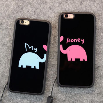 Cute elephant baby couple mobile phone case for iPhone 7 7 plus iphone 5 5s SE 6 6s 6plus 6s plus + Nice gift box!
