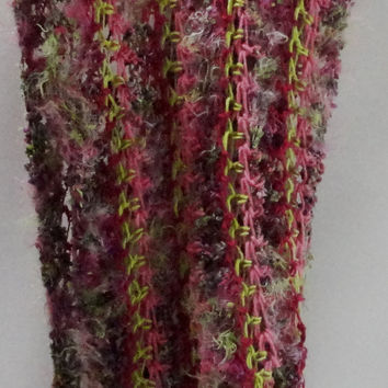 Scarf-Neck Warmer-Shawl-Shrug-Multi-Pink-Greens Lacy Twist-made from Funky Nylon and Polyester Fur Yarn and Wool, Cotton Yarn