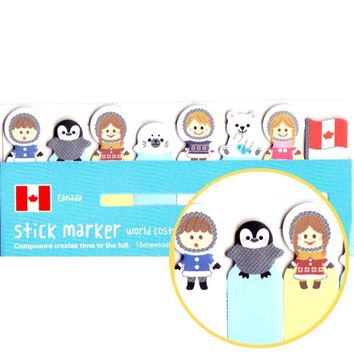 Eskimos Penguins Polar Bears and Seals Shaped Arctic Themed Post-it Index Sticky Bookmark Tabs