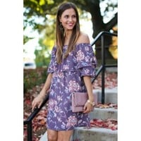 Promise Keeper Purple Off The Shoulder Dress