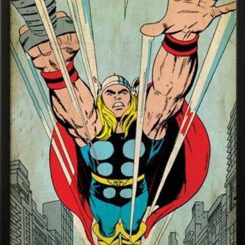 Marvel Comics Retro: Mighty Thor Comic Panel, Flying (aged) Poster at Art.com