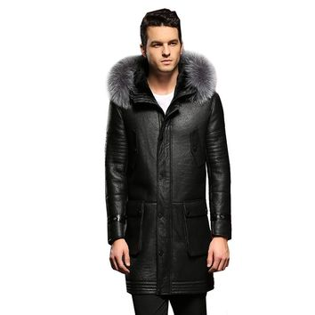 100% Guaranteed Real Sheepskin Fur Coat Genuine Full Pelt Shearling Male Formal Winter Clothing Sheepskin Jacket Men Fur Outwear