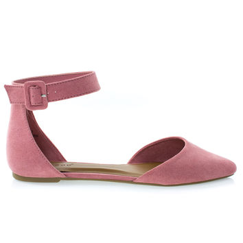 Sequel87M Mauve By Bamboo, Women's Pointed Toe Flat w Double Open Shank d'Orsay Cut & Ankle Strap