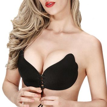 Fly Bra Women Invisible Bra Super Push Up Seamless Bra Self-Adhesive Sticky Wedding Party Front Strapless Bra for A B Cup