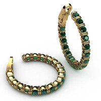 "Hoop Earrings, Emerald 18K Yellow Gold or 18K White Gold, 19.50 Grams,  1.1/8"" Inches, Mothers Day Gift, Anniversary"
