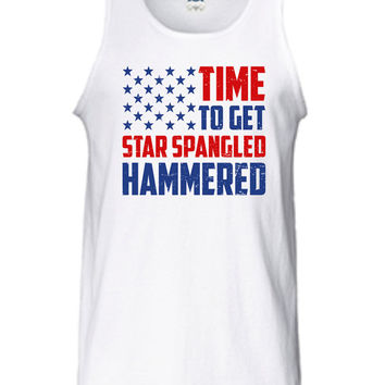 Time To Get Star Spangled Hammered Tank Top 4th of July Fourth America workout American Merica Patriotic Mens Womens Summer Gift MLG-1039