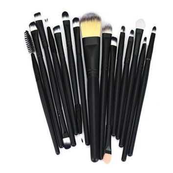 15pcs Makeup Brush Set tools Make-up Toiletry Kit Wool Make Up Brush Set (Black)