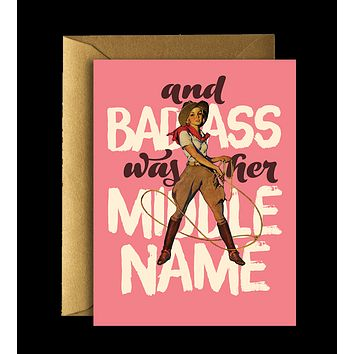 Offensive + Delightful - Badass Cow Girl Greeting Card
